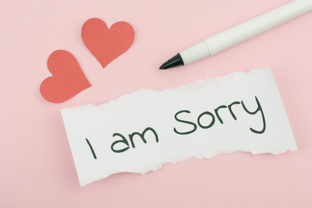 I'm sorry text concept write on paper