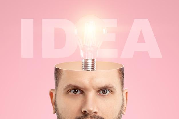 I. man's head, an incandescent lamp symbolizes an idea. the