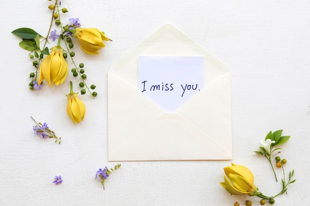 I miss you message card handwriting in envelope