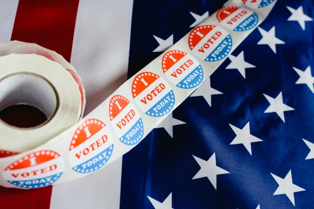 I voted today sticker, typical of us elections on american flag.