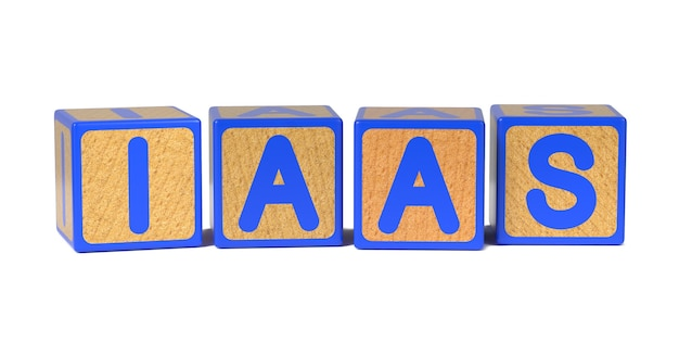 Iaas on colored wooden childrens alphabet block isolated on white.