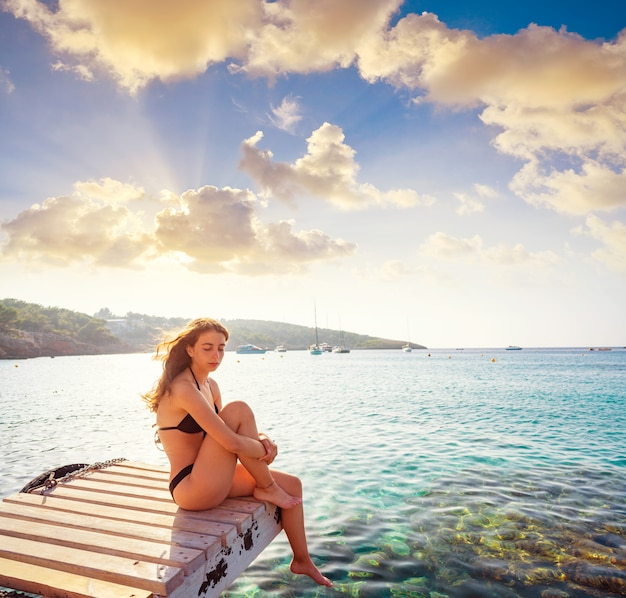 Ibiza bikini girl relaxed at portinatx beach