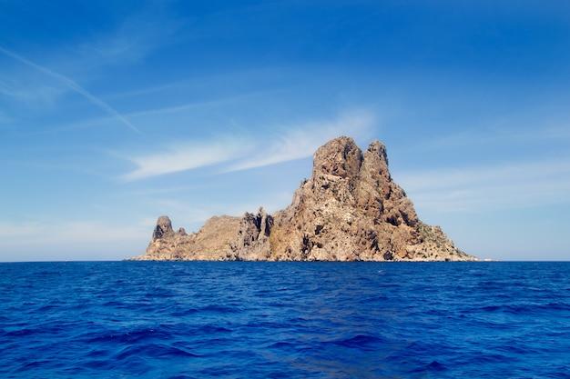 Ibiza es vedra island in mediterranean blue