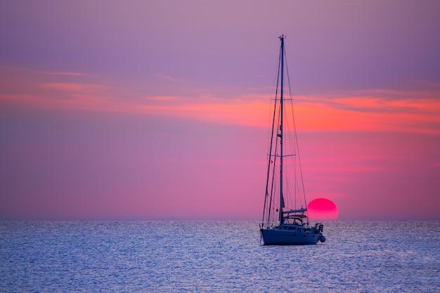 Ibiza sunset sun view from formentera island