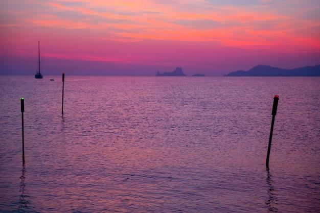 Ibiza sunset view from formentera island