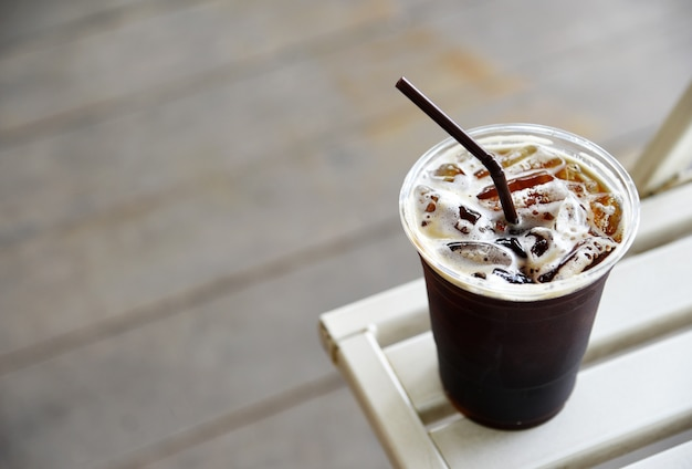 Ice americano coffee in the coffee shop