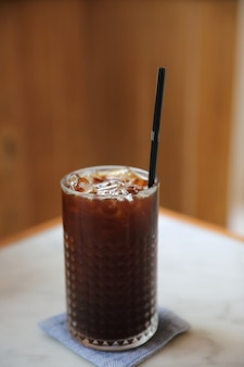 Ice americano coffee in coffee shop