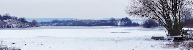 曇りの天気、冬の風景の中で氷と雪が川と川のそばの木々を覆った