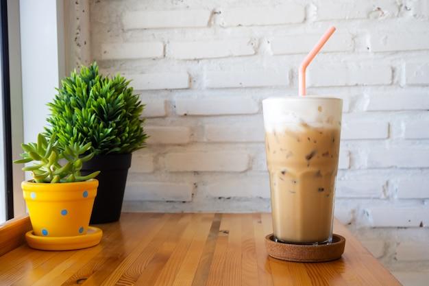 Ice cappuccino. coffee menu with milk foam.