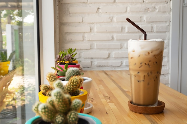 Ice cappuccino. cool beverage. cafe view.