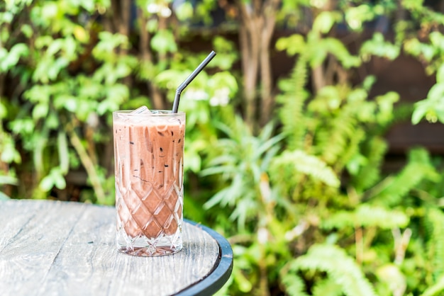 Ice chocolate smoothie glass on the table