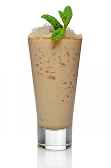 Ice cocktail with baileys in highball glass isolated on white