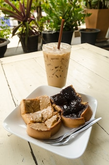 Ice coffee and  chocolate bread