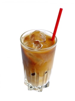 Ice coffee drink in tall glass