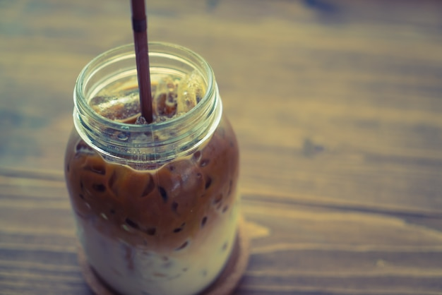 Ice coffee ( filtered image processed vintage effect. )
