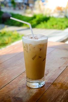 Ice coffee on table