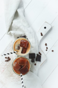 Ice coffee with chocolate
