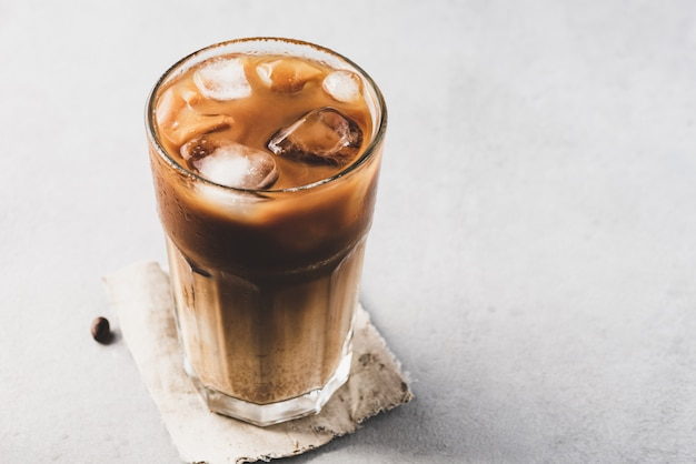 Ice coffee with milk background