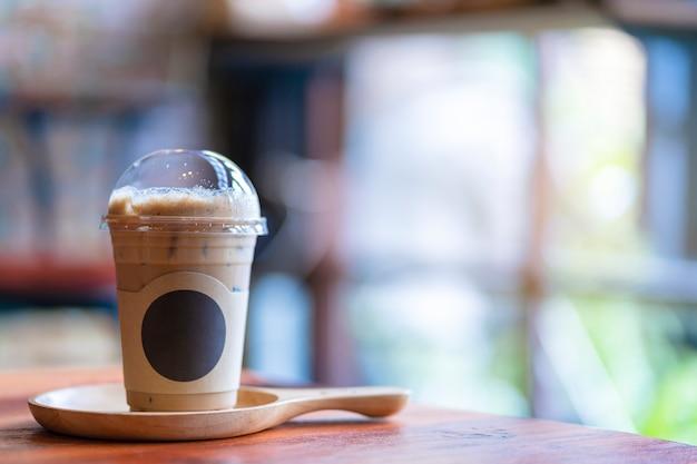 Ice coffee on wood board