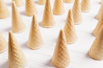 Ice cream background with cones