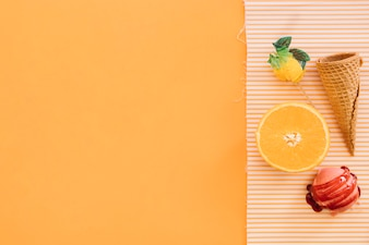 Ice cream background with fruits and copyspace