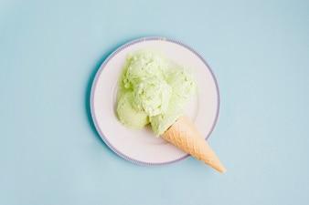 アイスクリーム、プレート、氷、背景
