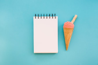 Ice cream background with notepad