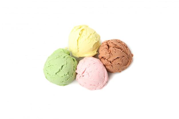 Ice cream balls isolated on white surface