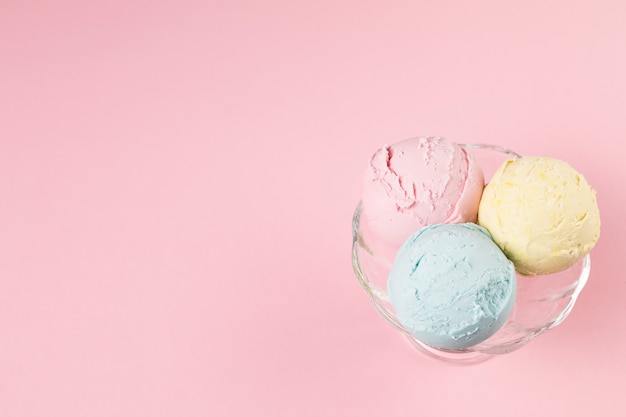 Шарики мороженого на тарелке