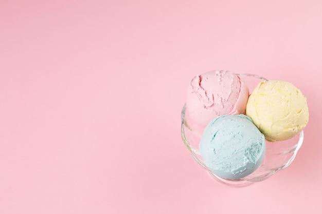 Ice cream balls on plate