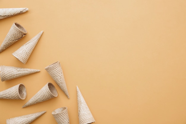 Ice cream concept with cones on left