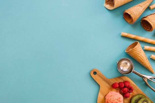 Ice cream concept with copyspace on left