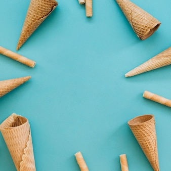Ice cream cone background with copyspace in middle