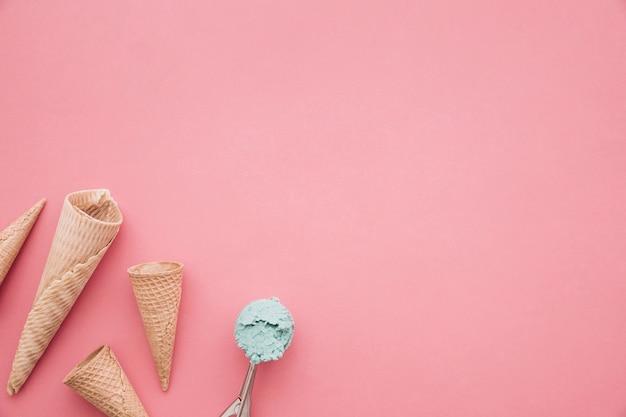 アイスクリーム、コーン、背景、copyspace
