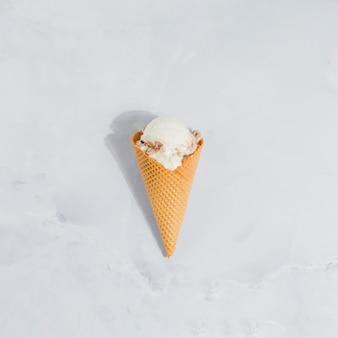 Ice cream cone on marble