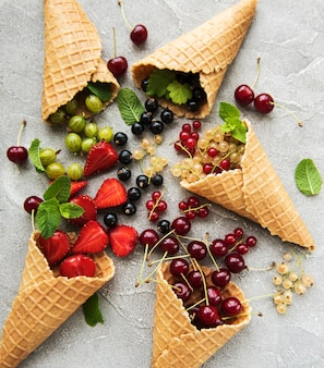 Ice cream cone with berries