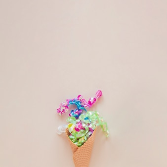 Ice cream cone with confetti and copy space