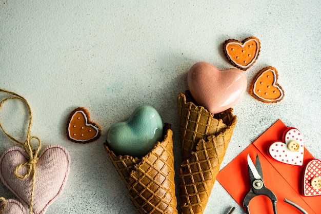 Ice cream cone with cookies, envelope and scissors