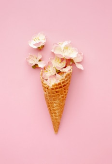 Ice cream cone with flowers