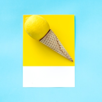 Ice cream cone with a lemon