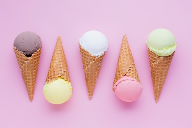 Ice cream cones with pink background