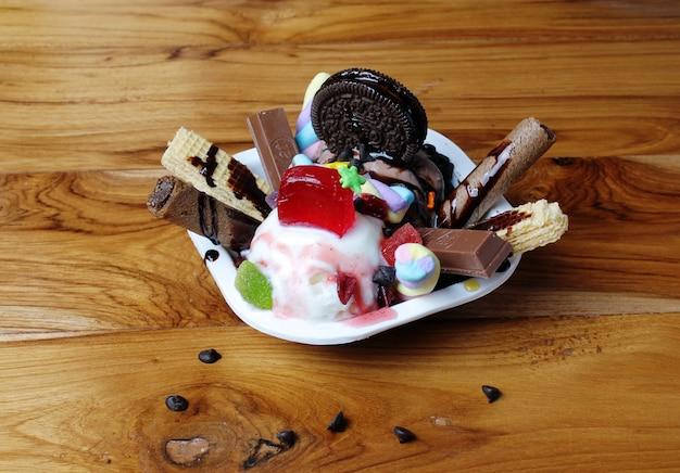 Ice cream dessert in wood table