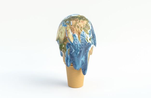 アイスクリームの地球は白い背景で溶ける