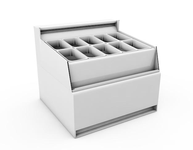 Морозильник для мороженого, изолированные на белом фоне. 3d-рендеринг.