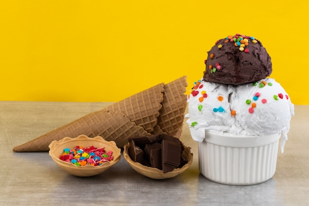 Ice cream on gray background