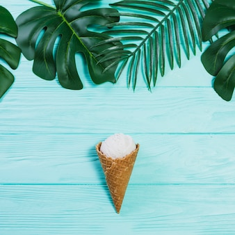 Ice-cream in cone near leaves