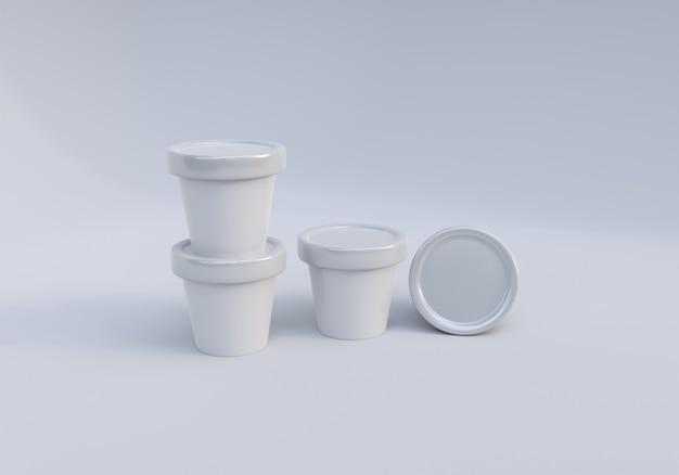 Набор изображений банки с мороженым для макета на белом фоне