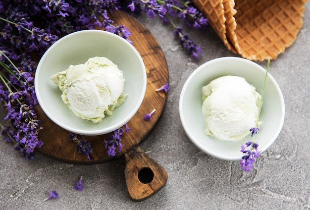 Ice cream and lavender flowers