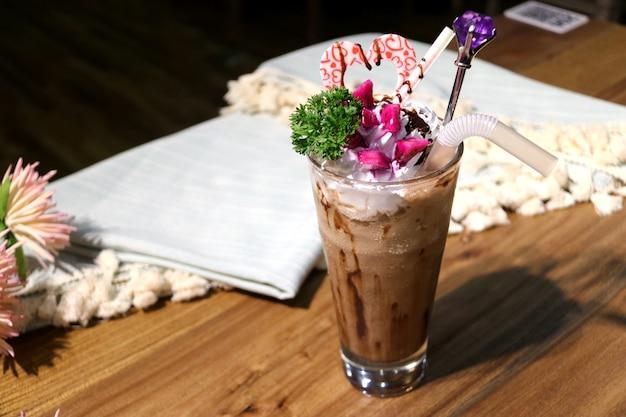 Ice cream in milk tea in summer