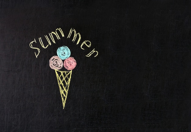 Ice cream painted with multicolored chalk on a blackboard with the inscription summer